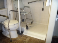 Shower with wheelchair